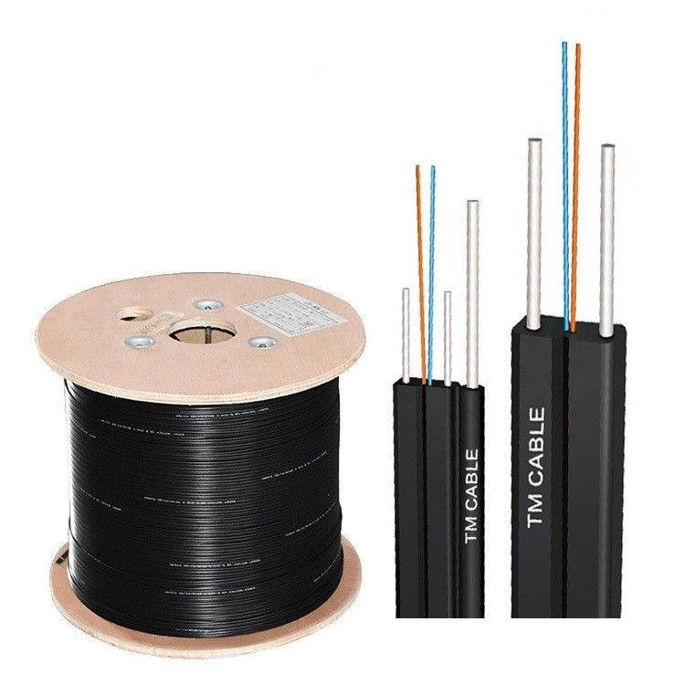 FTTH Flat Drop Fiber Optic Cable Single Mode 4 Cores Novel Groove Design